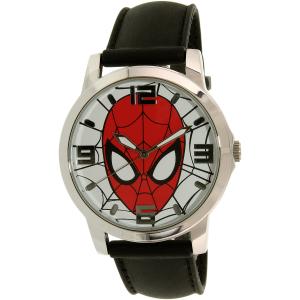 Disney Men's Ultimate Spider-Man SPMAQ579 Black Leather Analog Quartz Watch