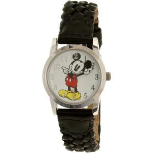 Disney Women's Mickey Mouse MCKAQ1479 Black Leather Analog Quartz Watch