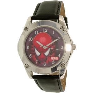 Disney Boy's Spider-Man SPM096 Black Leather Quartz Watch