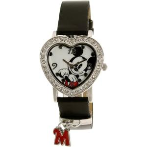 Disney Women's Mickey Mouse MCK966K Black Leather Analog Quartz Watch