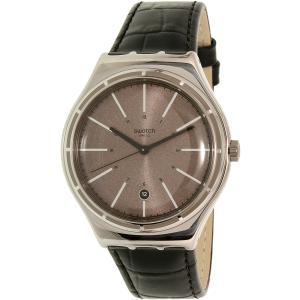 Swatch Men's Big YWS415 Black Leather Swiss Quartz Watch