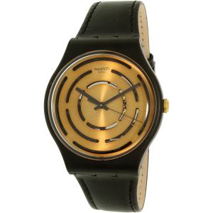 Swatch Women's New Gent SUOB126 Black Leather Quartz Watch