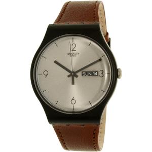 Swatch Men's New Gent SUOB721 Brown Leather Swiss Quartz Watch