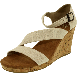 Toms Women's Clarissa Linen Cork Ankle-High Fabric Sandal