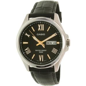 Casio Men's MTP1377L-1AV Black Leather Quartz Watch