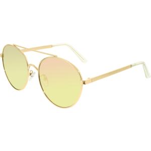Quay Women's Mirrored Circus Life QU-000014-GOLD/PNK Gold Round Sunglasses