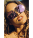 Quay Women's Mirrored Kiss And Tell QW-000045-ROSE/PNK Rose Gold Round Sunglasses - V4 Image Swatch