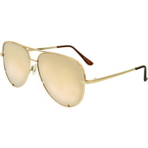 Quay Women's Mirrored High Key QC-000142-GOLD/GOLD Gold Aviator Sunglasses