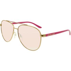 Michael Kors Women's Mirrored Hvar MK5007-10397V-59 Pink Oval Sunglasses