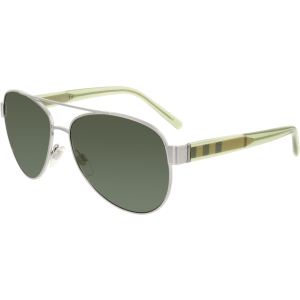 Burberry Men's  BE3084-116687-57 Silver Oval Sunglasses