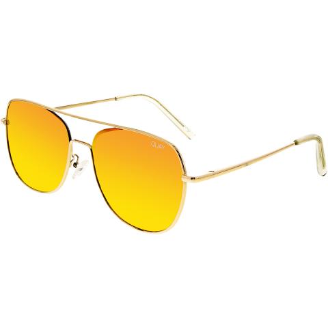 Quay Women's Mirrored Running Riot QU-000149-GOLD/RED Gold Aviator Sunglasses
