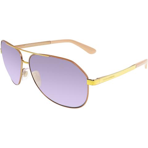 Dolce & Gabbana Women's Mirrored DG2144-12945R-61 Gold Aviator Sunglasses