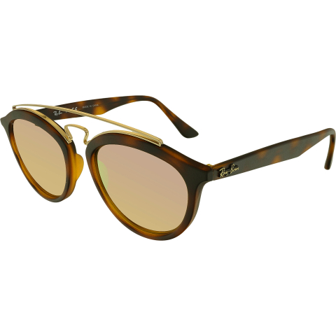 Ray-Ban Women's Mirrored RB4257-60922Y-53 Brown Round Sunglasses
