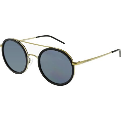Emporio Armani Men's Mirrored EA2041-300287-50 Matte Black Round Sunglasses