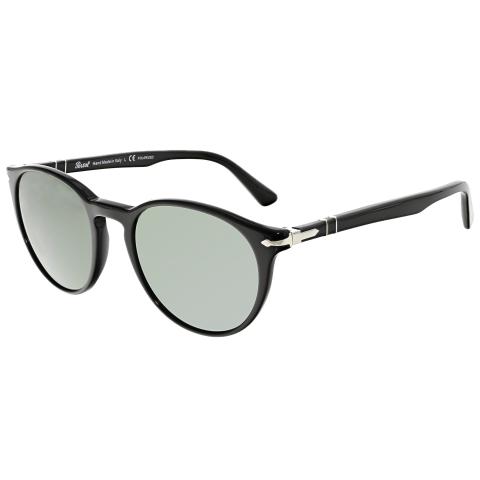 Persol Men's PO3152S-901458-52 Black Oval Sunglasses