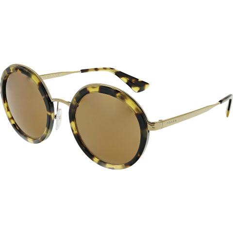 Prada Women's PR50TS-7S06N0-54 Brown Round Sunglasses