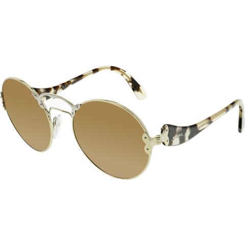 Prada Women's PR55TS-ZVN6N0-57 Gold Round Sunglasses