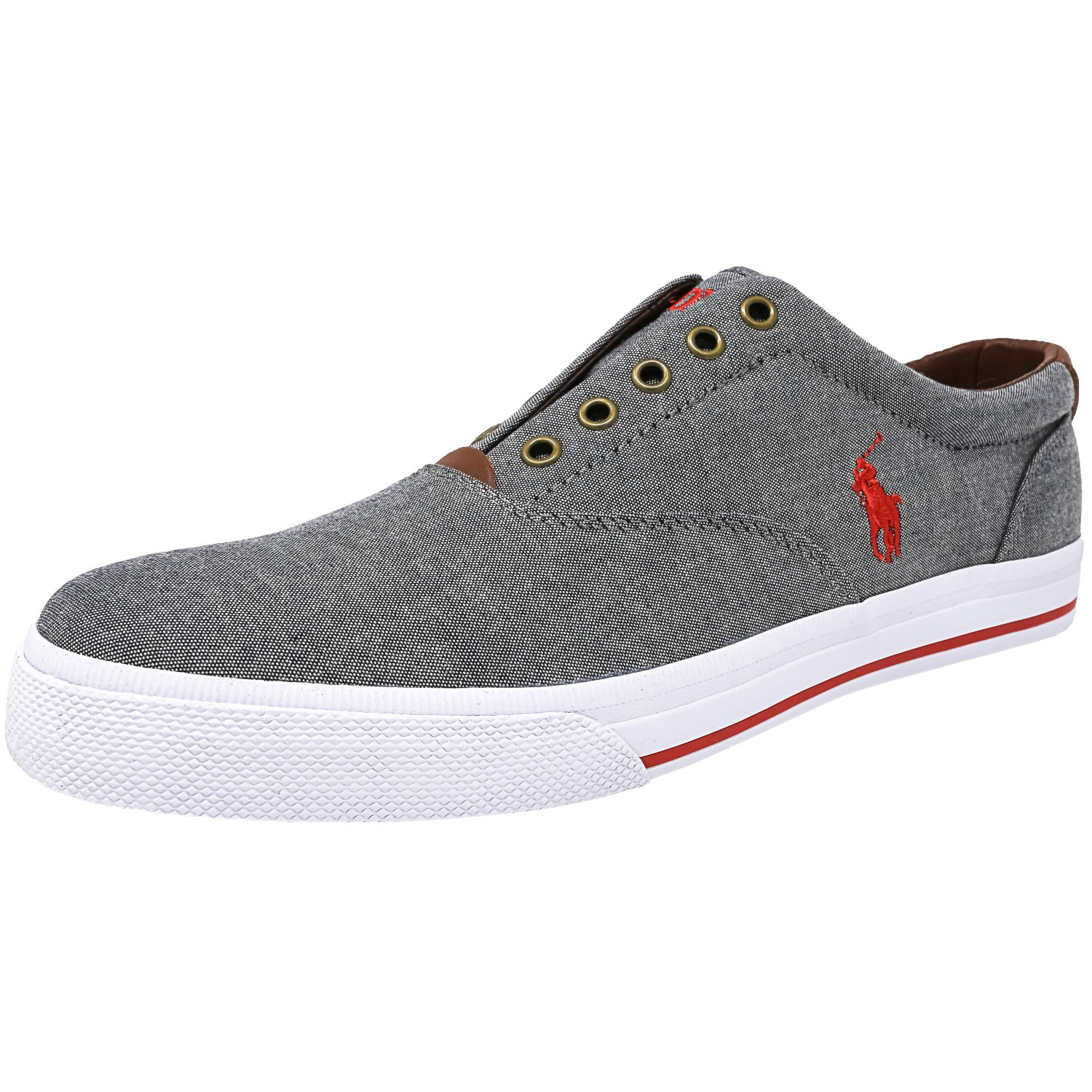 polo ralph lauren shoes vito laceless chambray sneakers with red