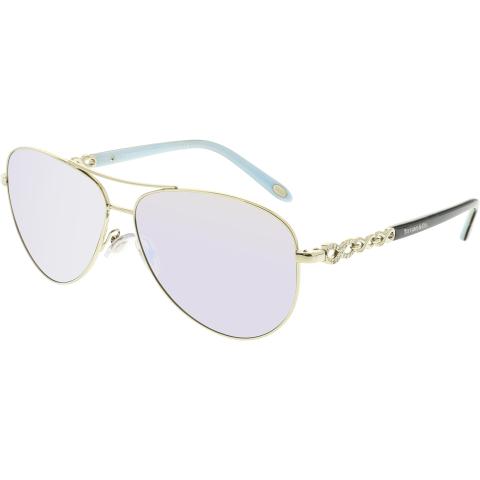 Tiffany And Co. Women's Mirrored TF3049B-609164-58 Silver Aviator Sunglasses
