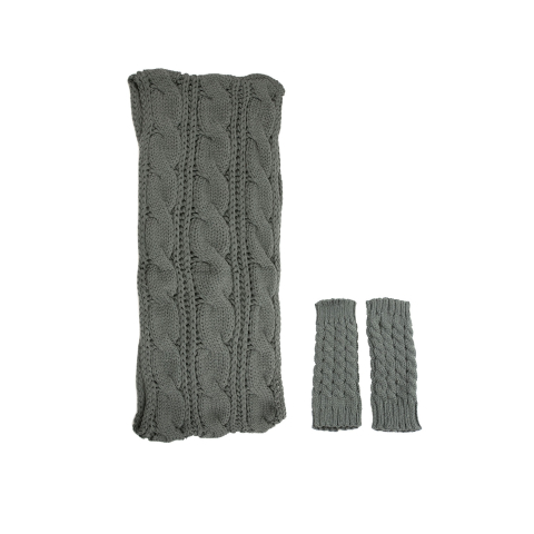 Exotic Identity Infinity Scarf and Leg Warmers Cable Knit 2-Piece Gift Set Flurry Cold Winter Wear for Women