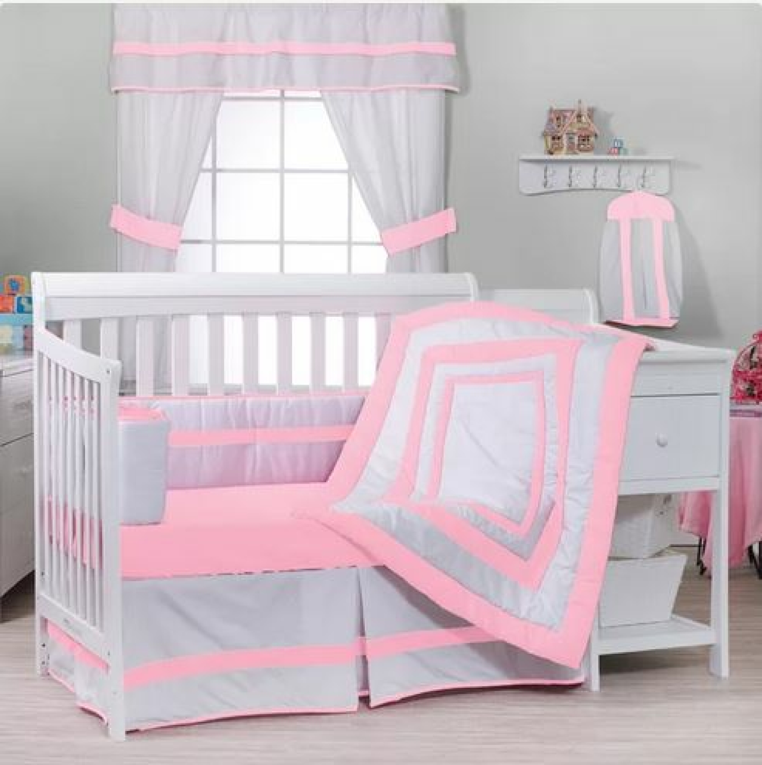 Pink White 4 Pc Crib Bedding Set With Sheet Bumper Dust