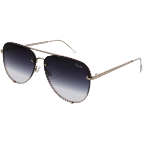 Quay Women's High Key Rimless QC-000556-GLD/FADE Black Sunglasses