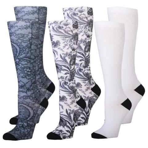 Celeste Stein 3 Pair Compression Socks 8-15 mmHg Black Heel Balloon Toe Socks