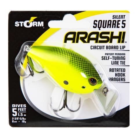 Storm Arashi Silent Square 5 Fishing Lure  Black Chartreuse Shad