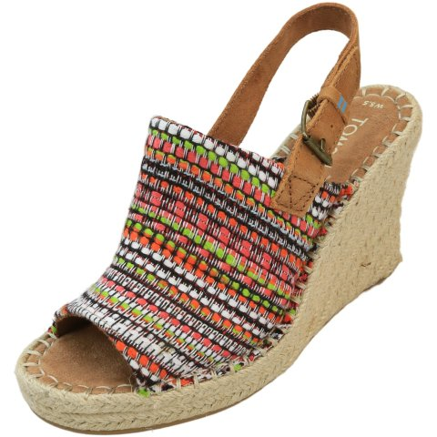 Toms Women's Monica Woven Ankle-High Fabric Wedged Sandal
