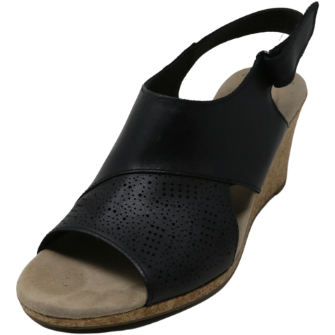 Clarks Women's Lafley Joy Leather Ankle-High Wedged Sandal