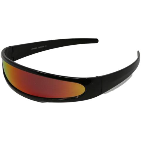 Zerouv Futuristic Cyclops Narrow Visor Sunglasses ZV8964 Black & Eyewear