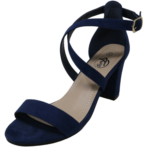 Trary Women's Adjustable Ankle Strap Chunky Heel Suede Ankle-High