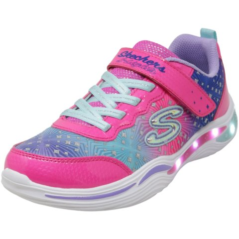 Skechers Girl's S Lights - Power Petals Painted Daisy Ankle-High Leather Sneaker