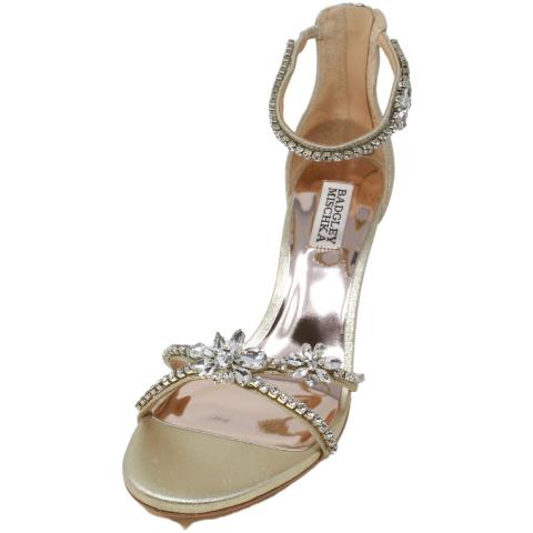 Badgley Mischka Women's Hobbs Metallic Suede Ankle-High Heel