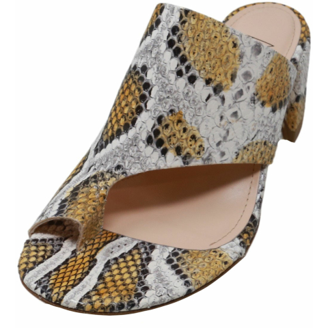 Agl Women's Toe Loop Chunky Heel Sandal Snakeskin