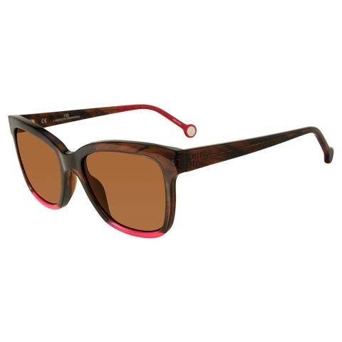 Carolina Herrera SHE7445306YH Square Sunglasses Pink/Brown