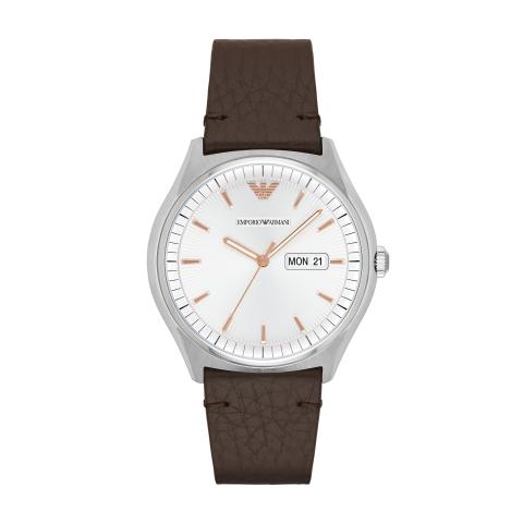 Emporio Armani Men's AR1999 Silver Leather Quartz Dress Watch