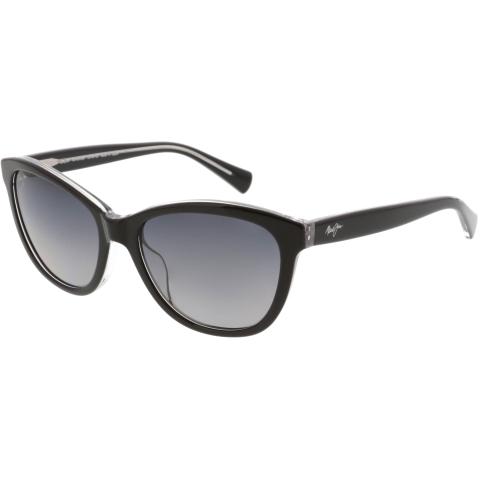 Maui Jim Women's Polarized Canna GS769-02K Black Cat Eye Sunglasses