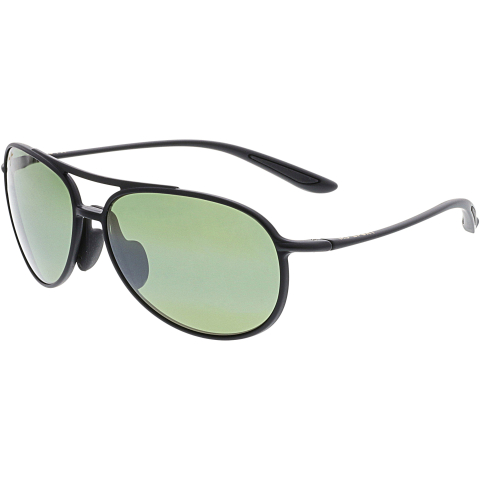 Maui Jim Polarized Alelele Bridge HT438-2M Matte Black Aviator Sunglasses