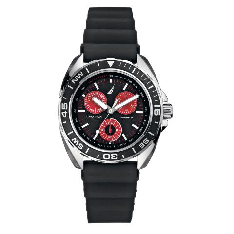 Nautica Watch N07577G Sport Ring 24 Hour Time, Calendar, Tachymeter, Rotating Bezel Compass, Black