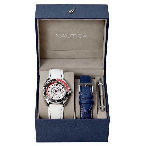 Nautica Watch N09907G Sports Ring Box Set 24 Hour Time, Calendar, Rotating Bezel Compass, White