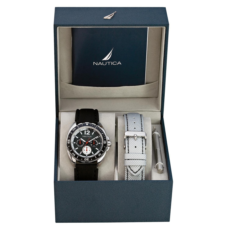 Nautica_Watch_N09910G_Sports_Ring_Box_Set_24_Hour_Time_Calendar_Rotating_Bezel_Compass_Black