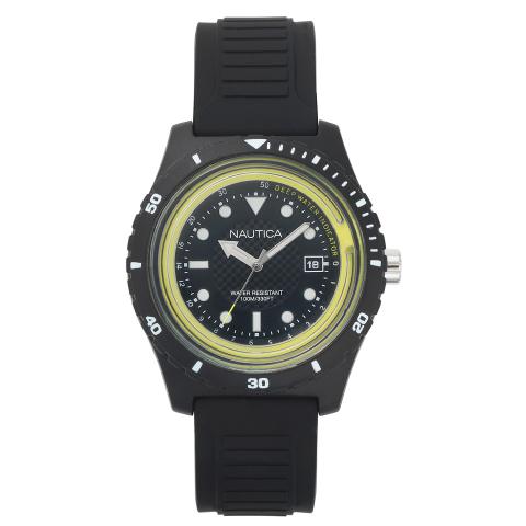 Nautica Watch NAPIBZ001 Ibiza, Analog, Water Resistant, Silicone Band, Adjustable Buckle, Deep Water Indicator, Black