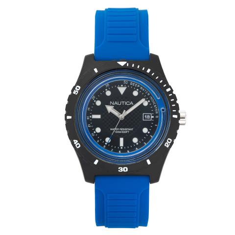 Nautica Watch NAPIBZ002 Ibiza, Analog, Water Resistant, Silicone Band, Adjustable Buckle, Deep Water Indicator, Blue