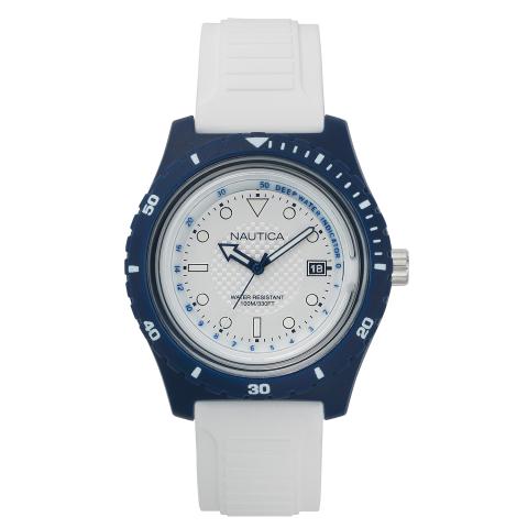 Nautica Watch NAPIBZ006 Ibiza, Analog, Water Resistant, Silicone Band, Adjustable Buckle, Deep Water Indicator, White