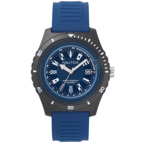Nautica Watch NAPIBZ008 Ibiza, Analog, Water Resistant, Silicone Band, Adjustable Buckle, Deep Water Indicator, Blue