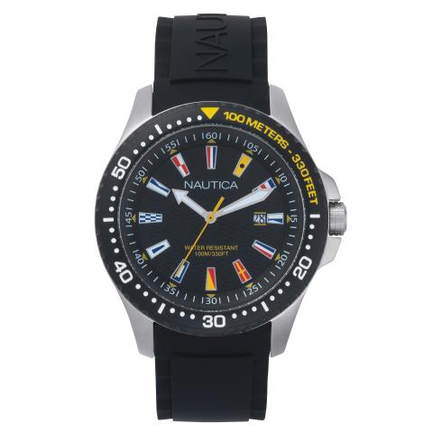 Nautica Men's Jones Beach NAPJBC003 Black Silicone Japanese Quartz Sport Watch