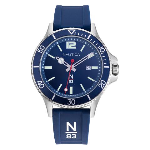 Nautica Watch NAPABS907 Accra Beach Calendar, Silicone Band, Snap Down Crown, Blue