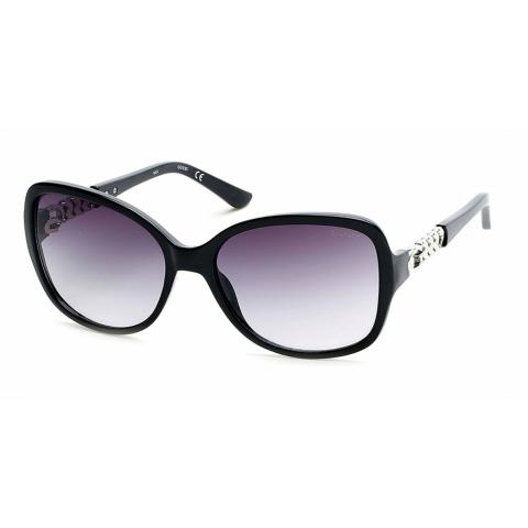 Guess Women's Gradient Gu7452 GU7452-01B-59 Black Oval Sunglasses