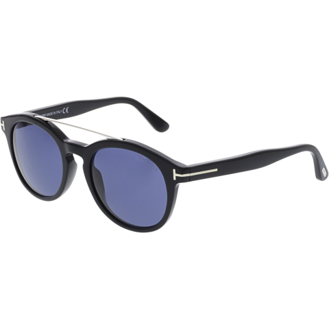 Tom Ford Mirrored Newman FT0515-01V-53 Black Oval Sunglasses